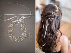sharone and tyler | whimsical woodsy Santa Barbara wedding at the santa barbara natural history museum Woodland Chic, Wedding Hairstyles, Pretty Hair Accessories, Long Hairstyles,#rusticweddings