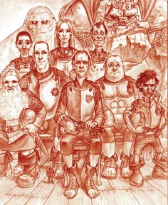 """L-R: Sergeant Cheery Littlebottom, Constable """"Washpot"""" Visit-The-Infidel-with-Explanatory-Pamphlets (or at least I presume that's him), Constable Dorfl, Captain Carrot Ironfoundersson, Constable Buggy Swires, Captain Delphine Angua von Uberwald, Commander Samuel Vimes, Constable Reg Shoe, Sergeant Detritus, Sergeant Fred Colon, Corporal Cecil """"Nobby"""" Nobbs."""
