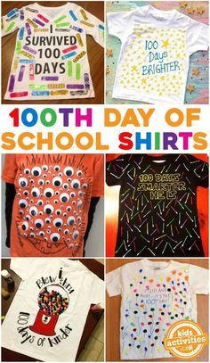 Day of School Shirt Ideas for Kids with Tulip Fabric Paint! Day of School Shirt Ideas for Kids with Tulip Fabric Paint! The post Day of School Shirt Ideas for Kids with Tulip Fabric Paint! 100th Day Of School Crafts, 100 Day Of School Project, School Projects, School Ideas, 100 Days Of School Project Kindergartens, 100 Day School Shirt, 100th Day Project Ideas, School Spirit Crafts, School Spirit Days
