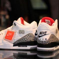 "NIKE AIR JORDAN III '88 RETRO WHITE/CEMENT GREY ""MJ50"" #sneaker"