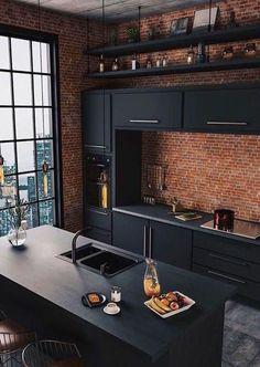 Interior Modern, Traditional Kitchen Interior, Interior Design Minimalist, Interior Design Kitchen, Modern Luxury, Traditional Kitchens, Black Luxury, Luxury Loft, Interior Livingroom