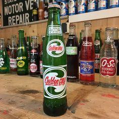 Vintage Golden Cola soda bottle full
