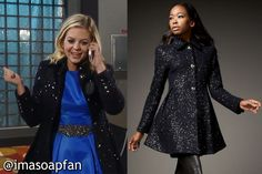I'm a Soap Fan: Maxie Jones's Navy Sequined Coat - General Hospital, Season 52, Episode 188, 12/30/14 #GH #GeneralHospital