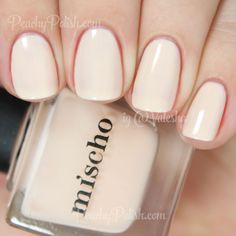 "Mischo Beauty The Tents | Fashion Week Collection | Peachy Polish ""The Tents"" is a pale semi-sheer antique off-white shade.  Great formula.  Very creamy and the good kind of thick that makes it easy to spread evenly and effortlessly.  I did 3 thin coats here and you get almost to opacity."