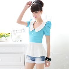 Womens summer Slim fit Lapel Collar Short Puff Sleeve Tshirt blue  white