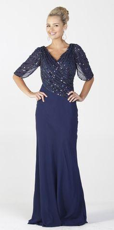 Sequin Top Navy Blue Formal Gown Long Mid Length Sleeve V Neckline $387.99