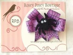 Spooky Spider Web Halloween Hair Bow by roseyposeybowtique on Etsy, $5.50