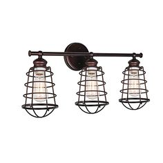 Design House Ajax Bronze Rustic Vanity Light at Lowe's. The Design House 519736 bathroom vanity light features a modern design and a textured, coffee bronze finish with wire shades. This vanity can be used for
