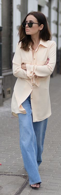 Peach Button Down Styling