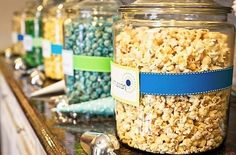 popcorn/kettle corn bar (toppings-m,nuts,parm,spicy,etc) with little bags.  Sweet Kettle + butter and/or white cheddar?