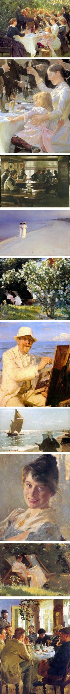 "Peder Severin Kroyer. According to Charley Parker, of linesandcolors.com ""He studied at the Royal Danish Academy of Art, traveled Europe and studied in Paris, where he was introduced to the work of the French Impressionists, an influence that resonates in his open, painterly, color-filled later work."" Just gorgeous!"