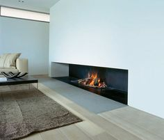 Wood-burning fireplace / open hearth / contemporary UNIVERSAL MF W Metalfire Open Fireplace, Fireplace Design, Minimalist Fireplace, Moderne Pools, California Homes, Interior Design Living Room, Interior Architecture, House Design, Home Decor