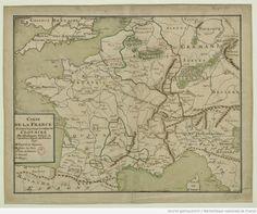 Carte de la France suivant le partage de Clotaire (1717)- CARIBERT 1°- 1)BIOGRAPHIE- 1.2 SECOND PARTAGE DU REGNUM FRANCORUM (561), 9: A la suite du mariage de Sigebert et de Brunehaut, CARIBERT invite le poète VENANCE FORTUNAT pour qu'il rédige un éloge panégyrique. Fortunat loua sa culture en lettre et en droit. Il éleva en Caribert le plus grand des rois Francs, le seul véritable héritier de son oncle Childebert 1° autant par ses qualités que par son royaume, en rappelant le témoignage ...
