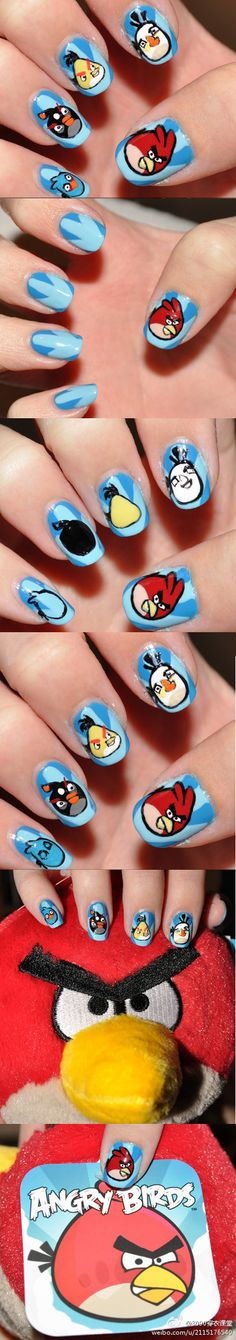 Angry Bird Nails - I don't usually like character nail art but come on.  Angry Birds!