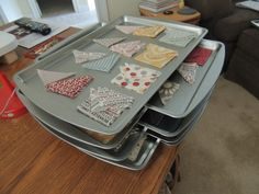 Quilt Piece Organization with a Cookie Sheet - 150 Dollar Store Organizing Ideas and Projects for the Entire Home - DIY @ Craft's Quilting Room, Quilting Tips, Quilting Tutorials, Quilting Projects, Craft Projects, Quilting Classes, Sewing Projects, Sewing Room Organization, Organization Hacks