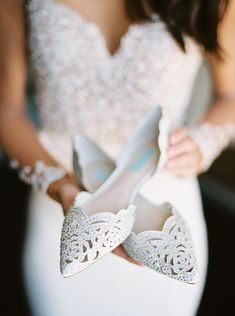 e56383f7389 These white pointed toe jeweled flats are everything! Vista West Ranch  Texas We… - Online Wedding Planner XYZ. Martinas Bridal Shoes