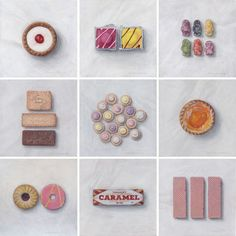 """Joel Penkman- Sweet Collection """"A collection of 9 small paintings for those with a sweet tooth. Joel Penkman, British Sweets, Iced Gems, Gcse Art Sketchbook, Sketchbook Challenge, Sketching, Bakewell Tart, Jelly Babies, Food Painting"""