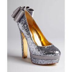 Ted Baker Glitter Evening Platform Pumps - Oaker High Heel