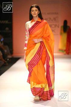 Rahul Mishra saree with shirt-style blouse