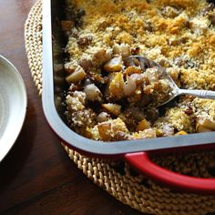 This sweet and savory casserole features pears, pearl onions and walnuts.