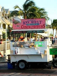 Conch fritters in Key West-- Chocolate dipped frozen key lime pie slices??