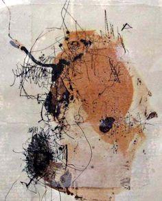 Yuko Wada | 34 x 30 sumi, beeswax, varnish on paper 2007 #calligraphy #mixed_media