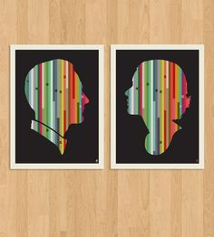 Striped Couple Silhouette Print - Set of 2 by Methane Studios on Scoutmob Shoppe..... would be cool to do your family's silhouette's the same way