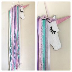 This is Tilley .. A Shabby chic Unicorn hair bow holder wall decor, unicorn bedroom, jojo bow holder, hair accessories hair bow tidy Unicorn wall hanger/ bow holder measuring approx 70cm.. can be done in any colours.. with or without sparkle. Personalisation can be added for £2