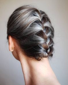 Grey Hair Braids, Grey Curly Hair, Long Gray Hair, Curly Hair Styles, Natural Hair Styles, Lilac Hair, Pastel Hair, Natural Curls, Blue Hair