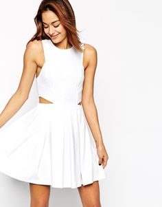 ASOS Skater Dress in Texture with Cut Out Side