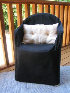 Black Resin Chair Organic Slipcover Hemp Cotton Outdoor Furniture Patio