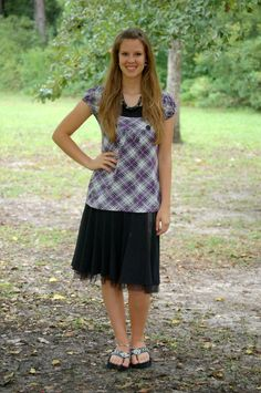 Purple Plaid Church Outfit 1