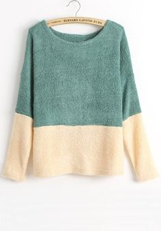 Green Color Block Patchwork Collarless Loose Knit Sweater
