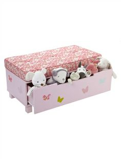 Banco com gaveta de arrumação tema Mil plumas, para menina, Quarto bebé