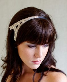 Eiffel Tower Headband Silver Beaded Headband by bethanylorelle