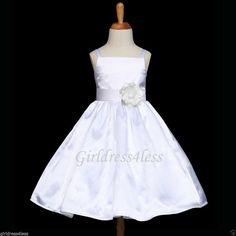 White Spaghetti Straps Party Flower Girl Dress12M by PinkGirlDress