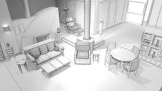 drawing of Frasier's apartment 3d Drawings, Landscape Architecture, Film, Chair, Furniture, Home Decor, Movie, Decoration Home, Film Stock