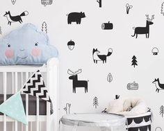 Woodland Nursery Wall Decals. Woodland nursery ideas. Modern nursery. Neutral nursery. Kids room ideas.