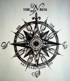 North with a rose, east with a bird, west with a deer, south with a tree, spikes would be peacock feathers With other spikes as bird feathers then with coordinates