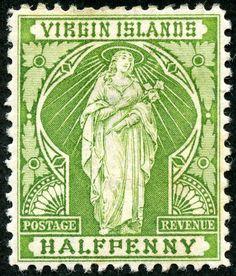 "British Virgin Islands  1899 Scott 21 ½d yellow green ""St. Ursula with Sheaf of Lilies"""