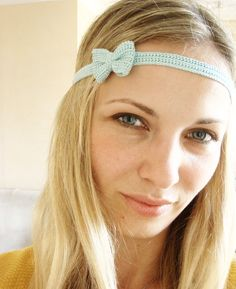 Headband  With Bow Crochet Pale Blue by sistersdreams on Etsy, £10.00