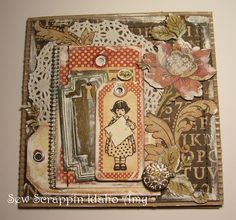 Made with Graphic 45 ABC Primer paper this card was made by Amy Kluchesky using paint for distress.  More on her blog Sewscrappin.blogspot.com