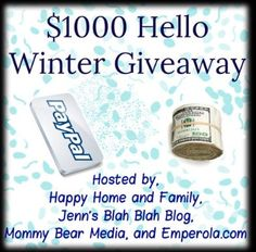 Welcome to Hello Winter $1000 Cash Giveaway! Winter blues? We've teamed up with the most amazing group of bloggers to bring you a $1000 cash giveaway to cheer you up this winter. So tell me, what would you do with an extra $1000 Cash? I don't know about...