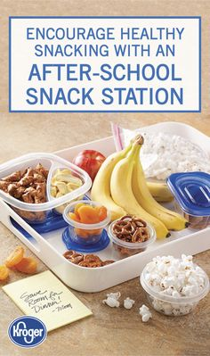 This diy after-school snack station from inspired gathering will help to promote healthy eating habits in your kids. use a plastic tray to set out plenty of Breakfast Dessert, Dessert For Dinner, Breakfast Ideas, Healthy Dinner Recipes, Healthy Snacks, Snack Recipes, After School Snacks, School Lunches, School Days