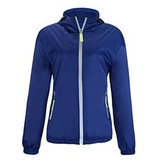 Womens Super Lightweight Waterproof Running Sport Windbreaker Coat Jacket US M Tag 3XL Denim ** Want to know more, click on the image.Note:It is affiliate link to Amazon.