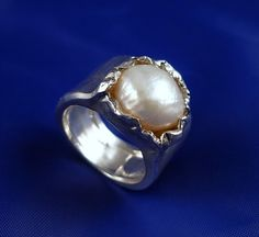 Exclusive Fresh Water White Pearl Hammered Silver Ring  by ElenadE
