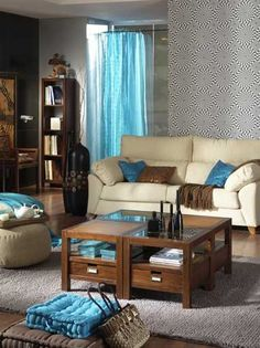 Bali mesa centro madera Couch, Throw Pillows, Bedroom, Table, Furniture, Home Decor, Nice, Ideal Home, House Decorations