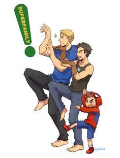 OH MY GOSH SPIDEY, TONY STARK AND CAP!!!!!!!!!! I'm dying inside at this Yotsuba/Avengers mashup.