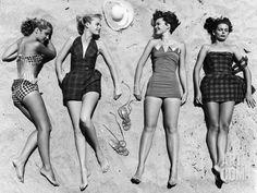 Models Sunbathing, Wearing Latest Beach Fashions Photographic Print by Nina Leen at Art.com