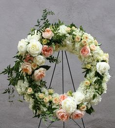sympathy wreath for spring.blush peonies, white lilac, ivory roses, white hydrangeas, and greenery Casket Flowers, Funeral Flowers, Wedding Flowers, Arrangements Funéraires, Funeral Floral Arrangements, Deco Floral, Arte Floral, Flowers For Mom, Beautiful Flowers